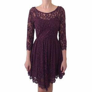 Free People Dress Long Sleeve Burgundy Lace 4